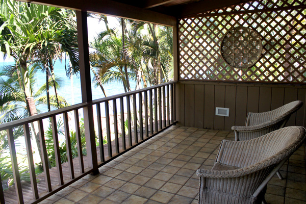 master bedroom deck w beautiful view of Paia Bay